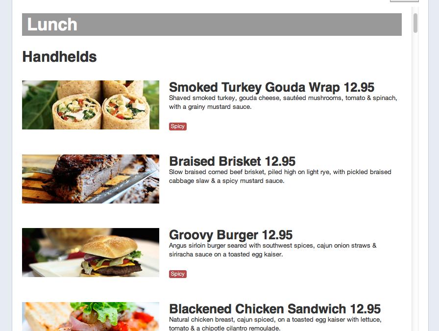 Facebook permitirá a restaurantes poner el menú en las Pages